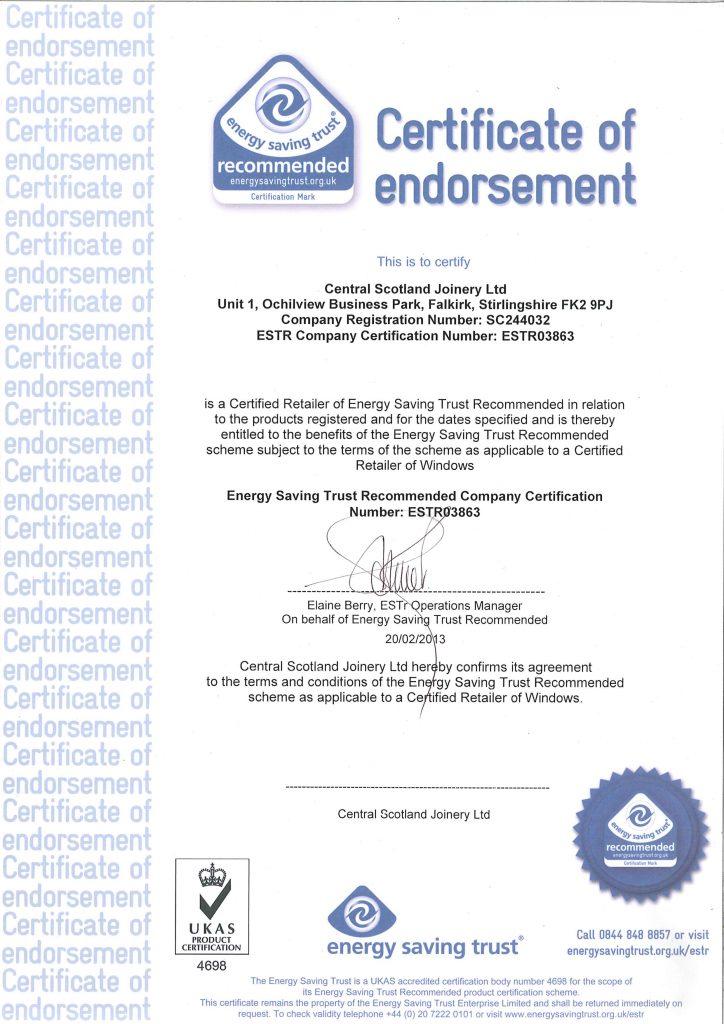 energy saving trust certificate